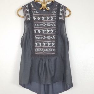 Anthropologie- Tiny embroidered sleeveless top